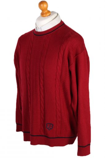 Vintage Unbranded Round Neck Cable Jumper L Red -IL1502-80567