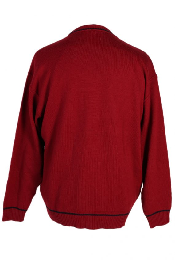 Vintage Unbranded Round Neck Cable Jumper L Red -IL1502-80568