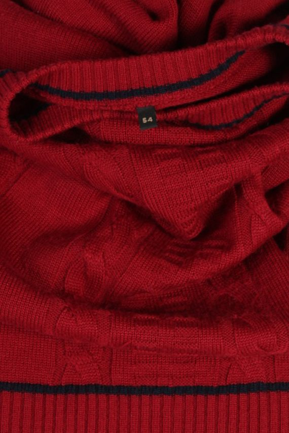 Vintage Unbranded Round Neck Cable Jumper L Red -IL1502-80569