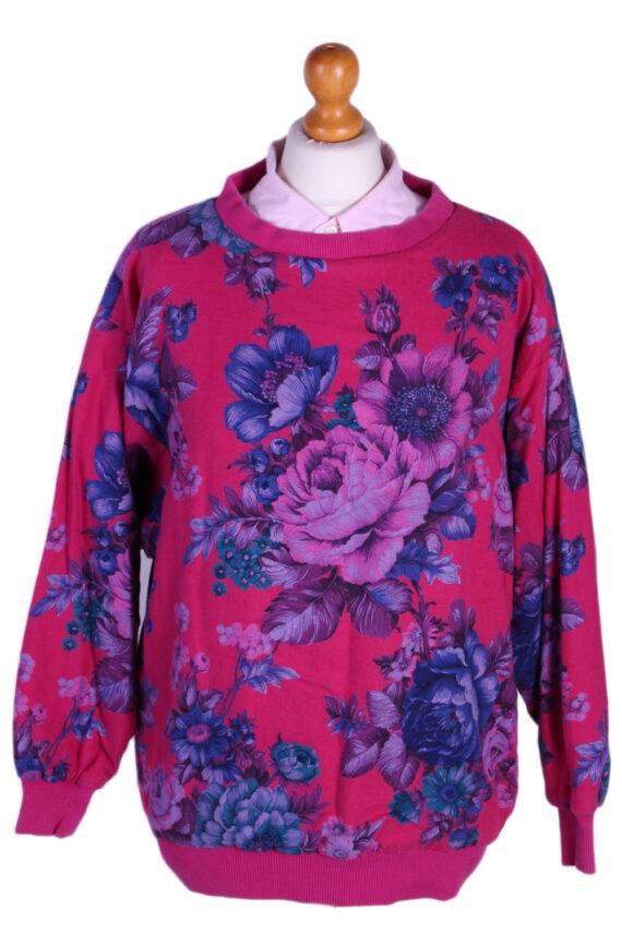 Vintage Tila Floral Round Neck -SWeater M Fuchsia -SW1780-0