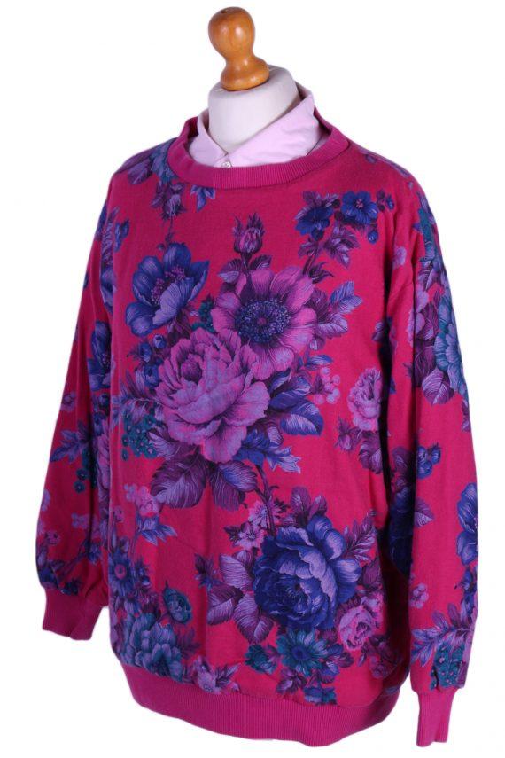 Vintage Tila Floral Round Neck -SWeater M Fuchsia -SW1780-80028