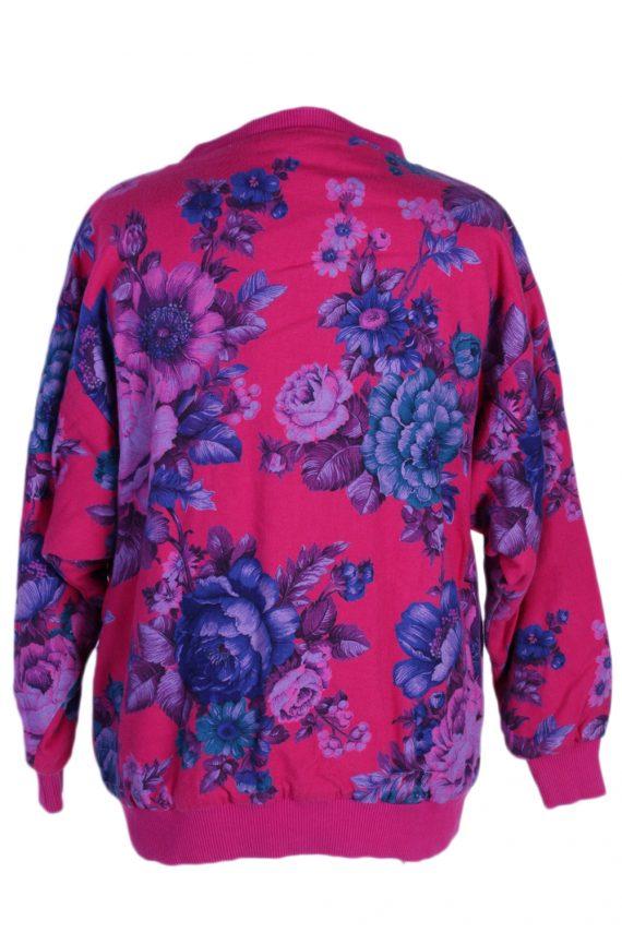 Vintage Tila Floral Round Neck -SWeater M Fuchsia -SW1780-80029