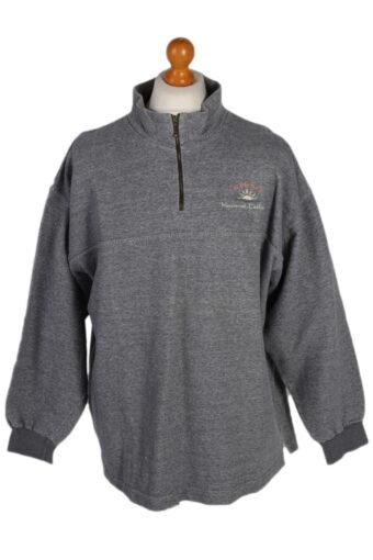 90s Sweatshirt High Neck Retro Grey XXL
