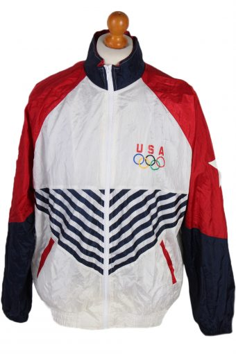 90s Retro USA Olimpic Official Shell Track Top L