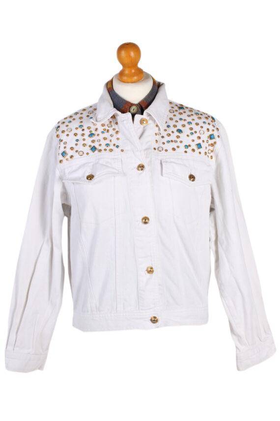 Vintage Diamon Designer Denim Jacket L White -DJ1449-0