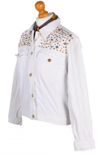 Vintage Diamon Designer Denim Jacket L White -DJ1449-81213