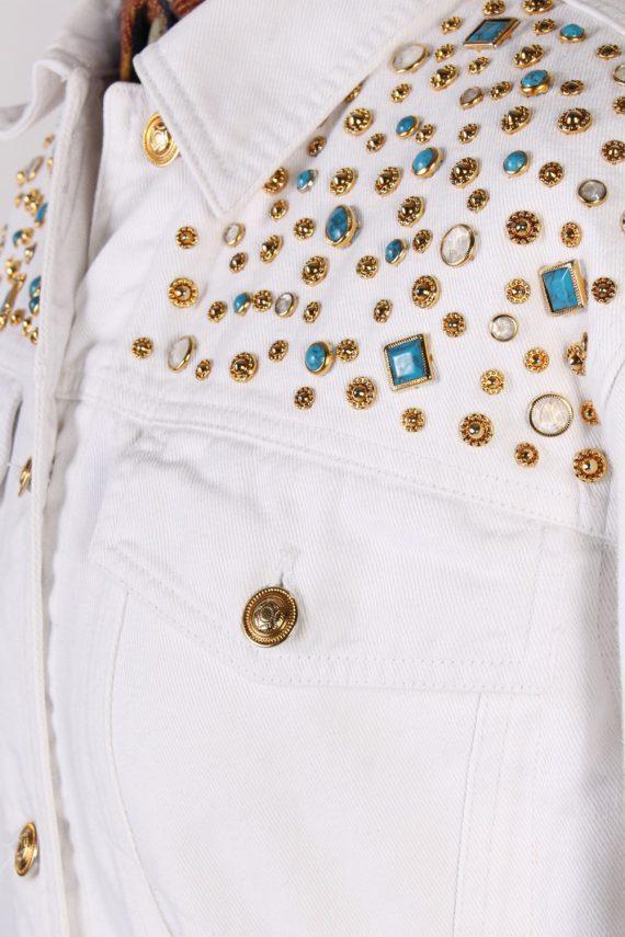 Vintage Diamon Designer Denim Jacket L White -DJ1449-81214