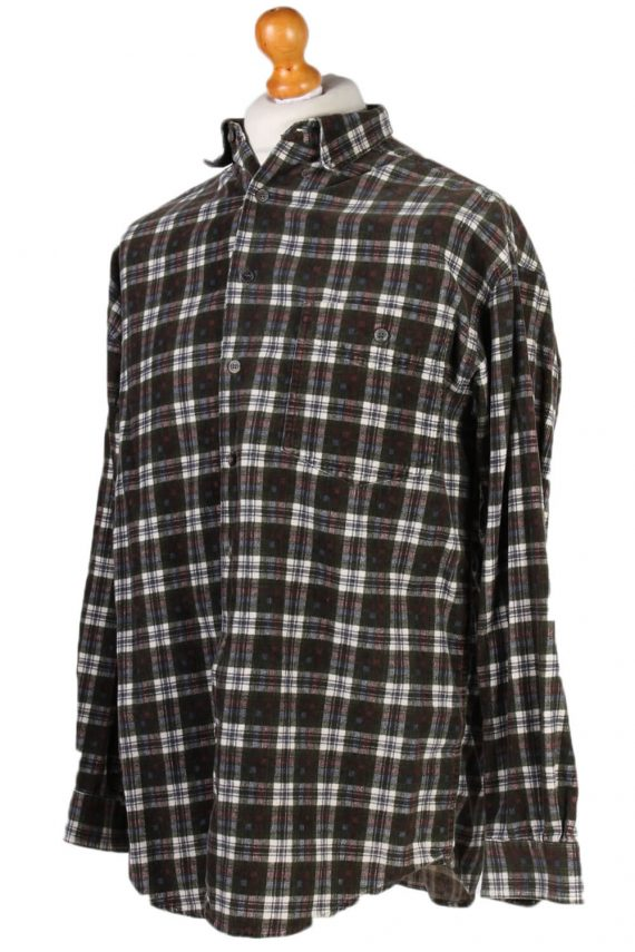 Vintage New Fast Checked Shirt S Green SH3236-81413