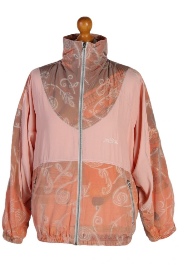 Vintage Authentic Klein Printed Shell Tracksuit Top M Baby Pink -SW1883-0