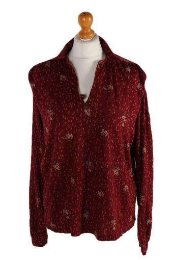 Women 90s Flower Shirt Long Sleeve L
