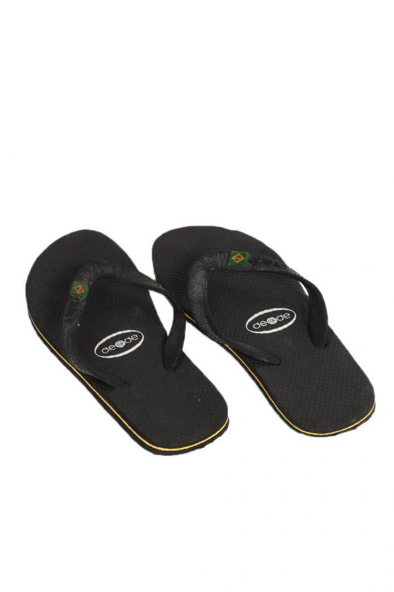 Vintage De at De Brasil Logo Flip Flop E39/40 USA6/7 Black S326-83664