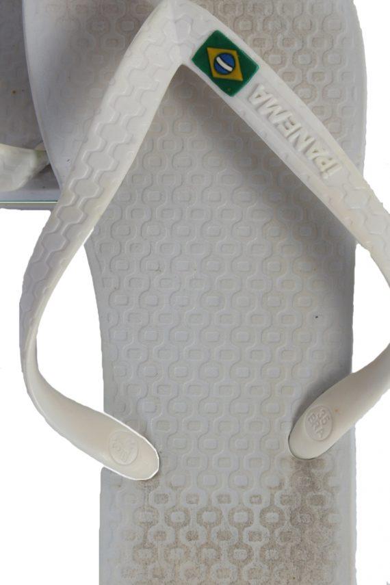 Vintage Ipanema Brasil Logo Flip Flop E37 USA4 White S337-83710