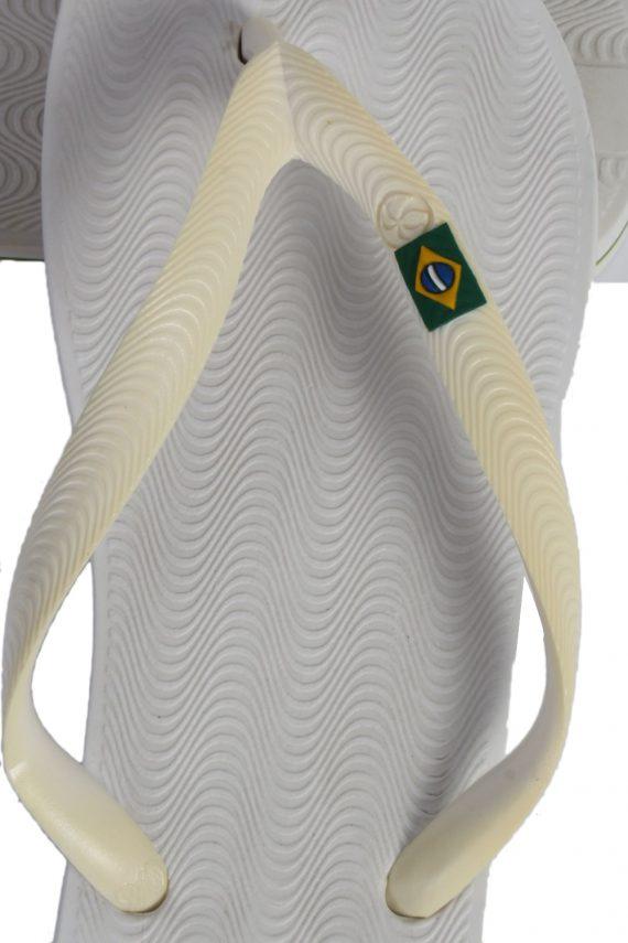 Vintage Ipanema Brasil Logo Flip Flop E41/42 USA7/8 White S338-83714