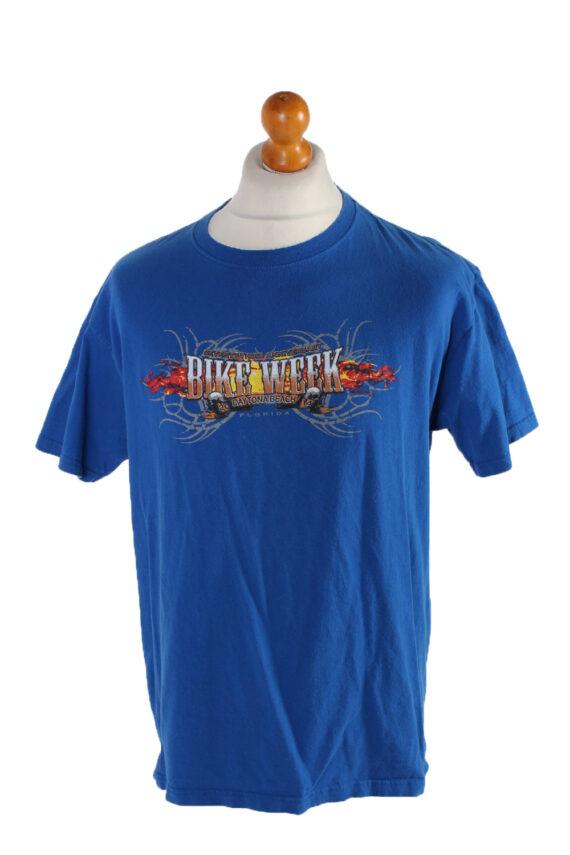 Vintage Fruit Of The Loom Short Sleeve Shirt L Blue TS133-0