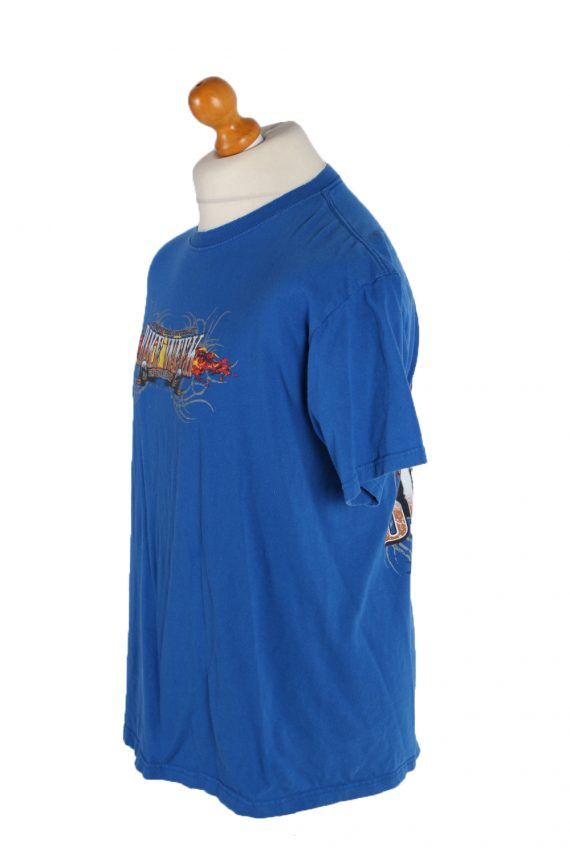 Vintage Fruit Of The Loom Short Sleeve Shirt L Blue TS133-82625