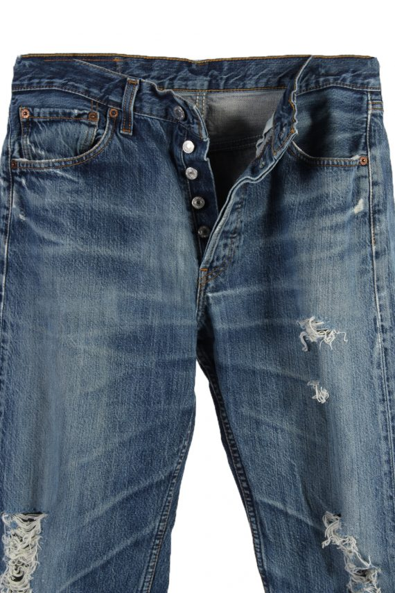 Vintage Levi's 501 Red label Ripped Faded Unisex Jeans W30 L32 Blue J3251-84892