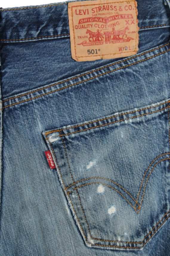 Vintage Levi's 501 Red label Ripped Faded Unisex Jeans W30 L32 Blue J3251-84894