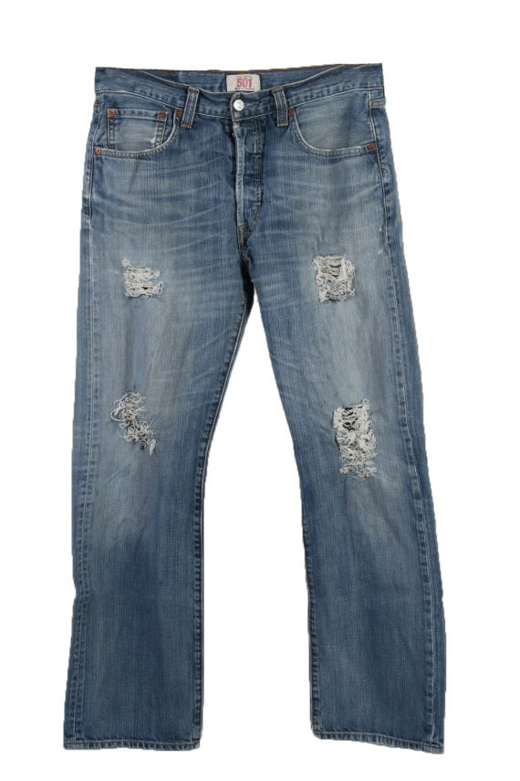 Vintage Levi's 501 Red label Ripped Faded Unisex Jeans W33 L30 Blue J3277-0