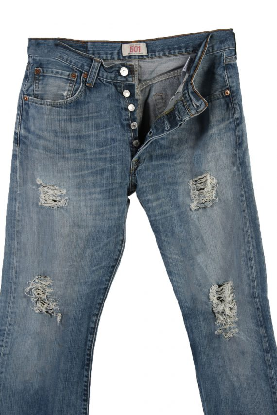 Vintage Levi's 501 Red label Ripped Faded Unisex Jeans W33 L30 Blue J3277-84992