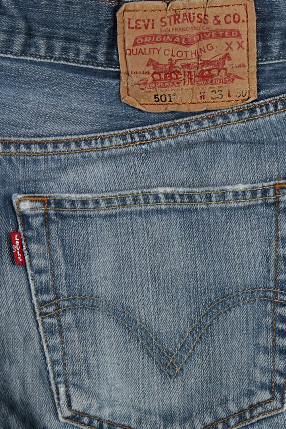 Vintage Levi's 501 Red label Ripped Faded Unisex Jeans W33 L30 Blue J3277-84994
