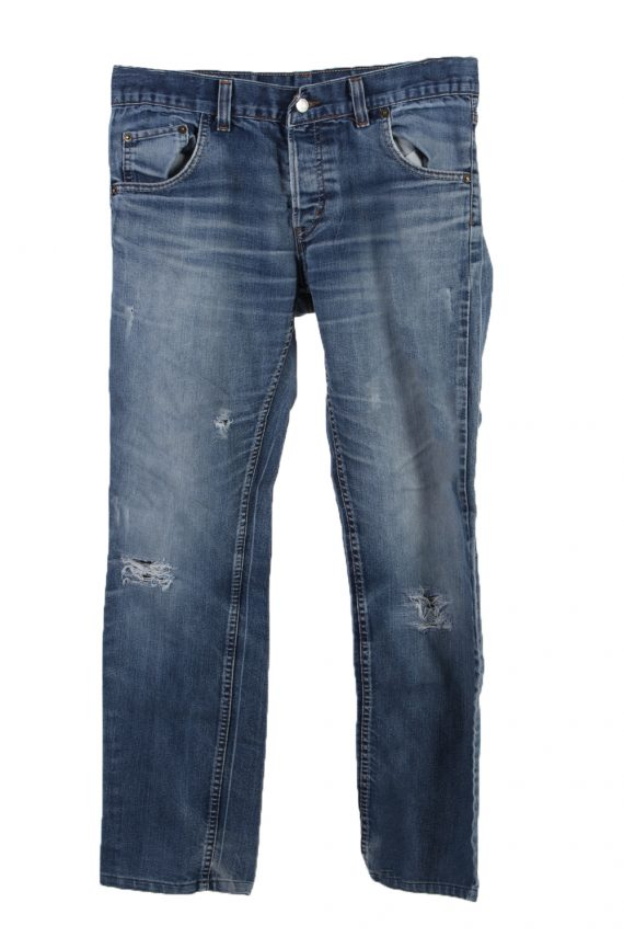 Vintage Levi's 501 Red label Ripped Faded Unisex Jeans W34 L34 Blue J3284-0