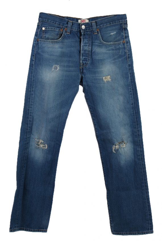 Vintage Levi's 501 Red label Ripped Faded Unisex Jeans W32 L32 Blue J3301-0