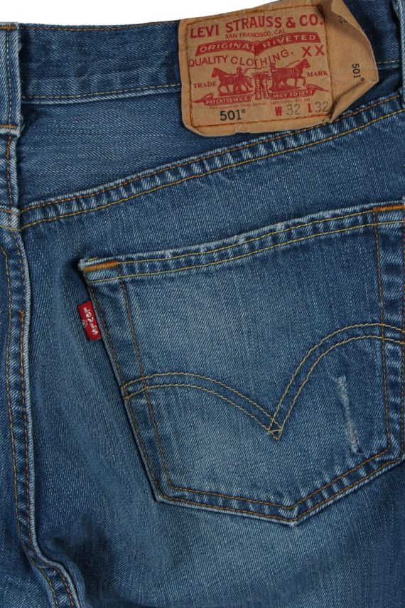 Vintage Levi's 501 Red label Ripped Faded Unisex Jeans W32 L32 Blue J3301-85090