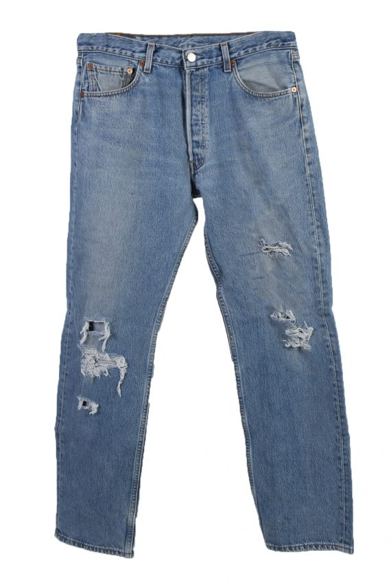 Vintage Levi's 501 Red label Ripped Faded Unisex Jeans W34 L32 Blue J3307-0