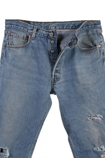 Vintage Levi's 501 Red label Ripped Faded Unisex Jeans W34 L32 Blue J3307-85112