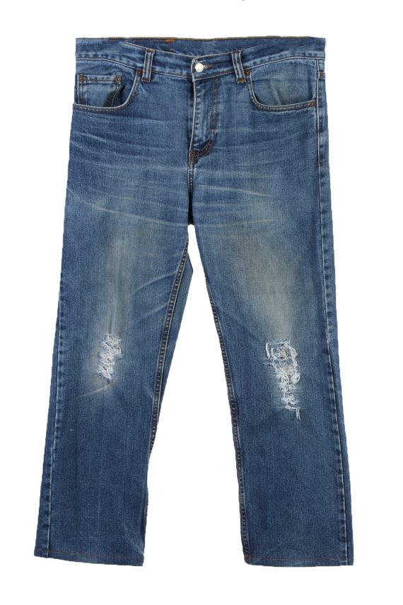 Vintage Levi's 501 Red Lable Ripped Faded Unisex Jeans W36 L36 Blue J3313-0