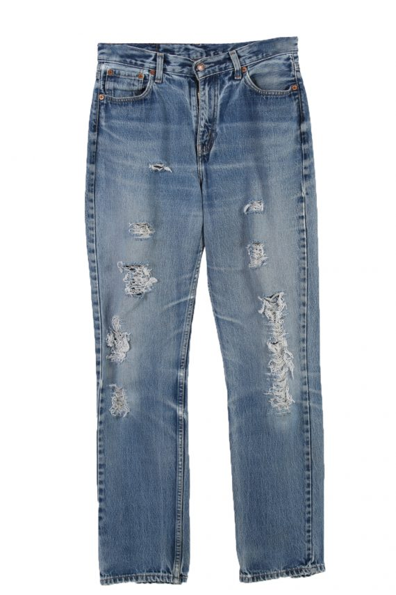 Vintage Levi's 583 06 Red Lable Ripped Faded Unisex Jeans W32 L34 Blue J3325-0