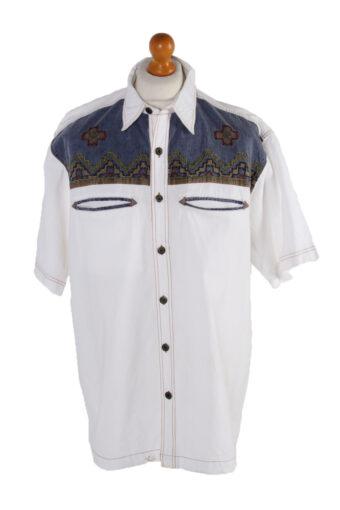90s Shirt Short Sleeve Retro White XL