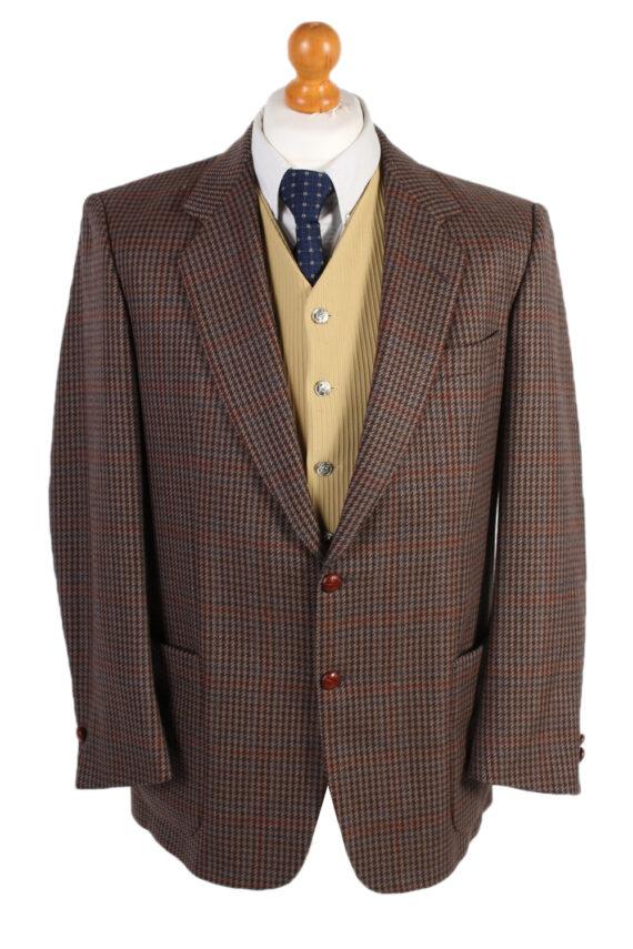 Vintage Harris Tweed Kohler Window Pane Houndstooth Blazer Jacket Chest 43 Brown HT2320-0