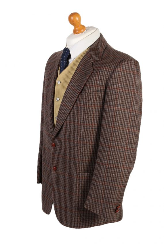 Vintage Harris Tweed Kohler Window Pane Houndstooth Blazer Jacket Chest 43 Brown HT2320-87227