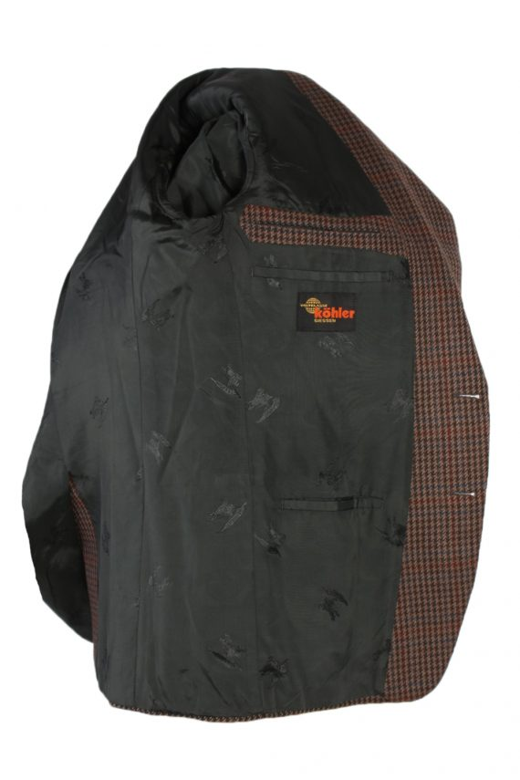 Vintage Harris Tweed Kohler Window Pane Houndstooth Blazer Jacket Chest 43 Brown HT2320-87230