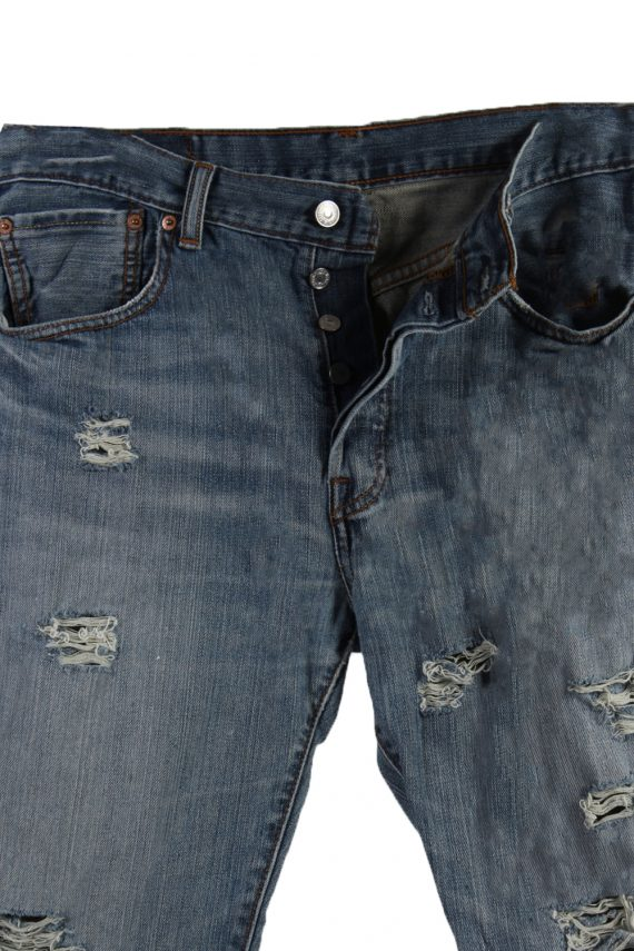 Vintage Levi's 501 Red Lable Ripped Faded Unisex Jeans W33 L32 Blue J3355-87623