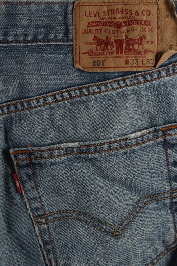 Vintage Levi's 501 Red Lable Ripped Faded Unisex Jeans W33 L32 Blue J3355-87625
