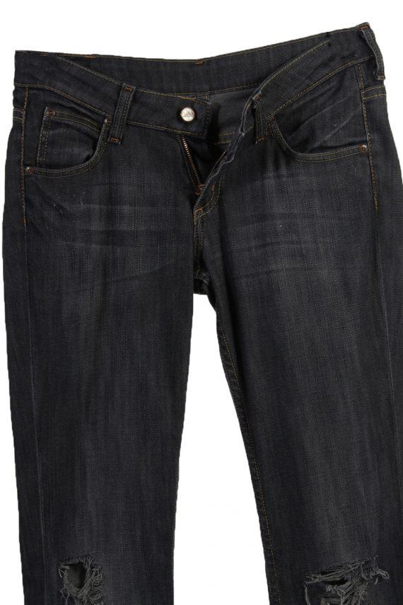 Vintage Lee Ripped Faded Women Jeans W27 33 Bluack J3402-87563