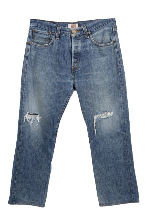Vintage Levi's 501 Red Lable Ripped Faded Unisex Jeans W33 L30 Blue J3416-0