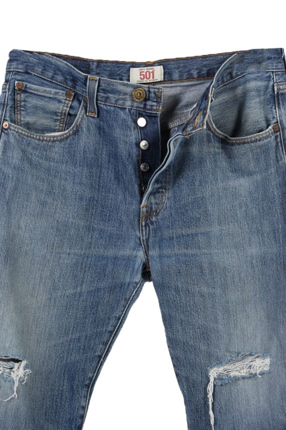 Vintage Levi's 501 Red Lable Ripped Faded Unisex Jeans W33 L30 Blue J3416-87413