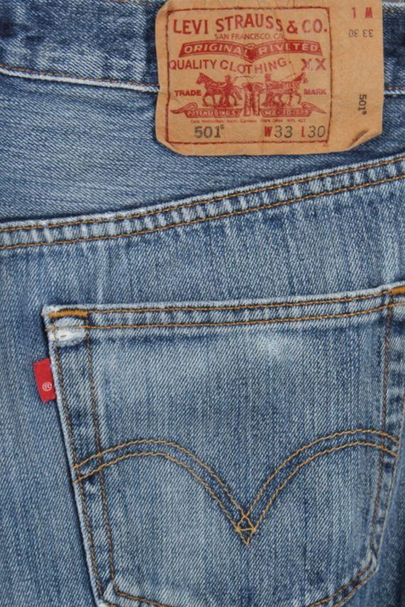 Vintage Levi's 501 Red Lable Ripped Faded Unisex Jeans W33 L30 Blue J3416-87415