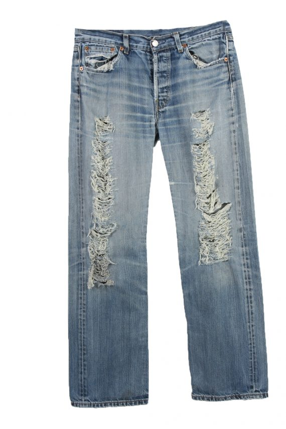 Vintage Levi's 501 Red Lable Ripped Faded Unisex Jeans W30 L32 Blue J3441-0