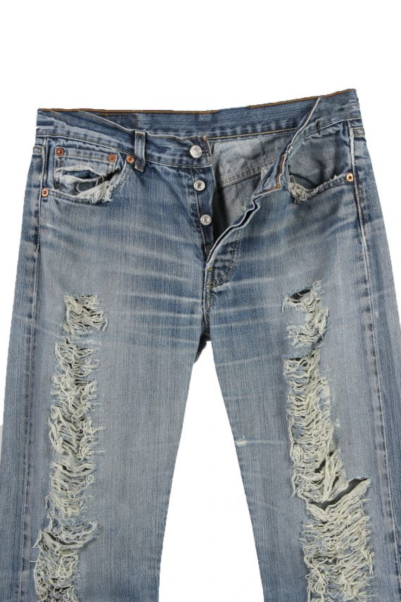 Vintage Levi's 501 Red Lable Ripped Faded Unisex Jeans W30 L32 Blue J3441-87488