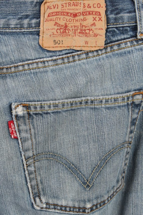 Vintage Levi's 501 Red Lable Ripped Faded Unisex Jeans W30 L32 Blue J3441-87490