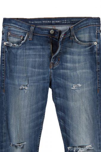 Vintage Mustang Vegas Skinny Ripped Faded Women Jeans W34 L31 Blue J3443-87494