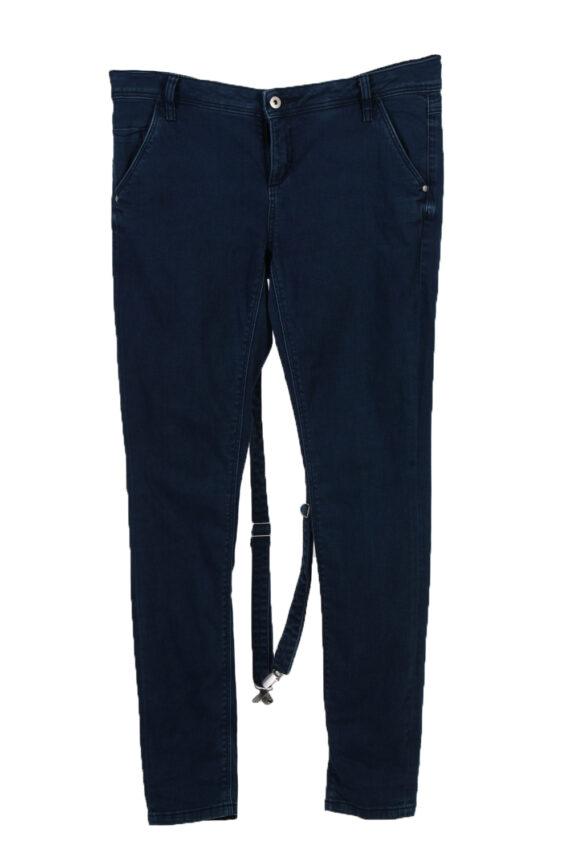 Vintage C&A Super Skinny Removable Stripe Women Jeans W34 L33 Navy J3731-0