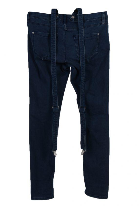 Vintage C&A Super Skinny Removable Stripe Women Jeans W34 L33 Navy J3731-91257