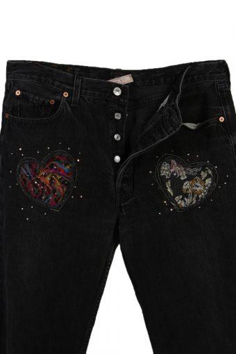Vintage Levi's 501 Designer Remake Faded Women Jeans W36 L31 Black J3758-91574
