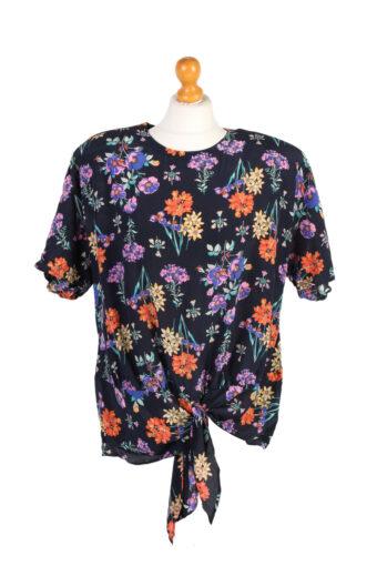 Women 90s Flower Shirt Short Sleeve Navy Blue L