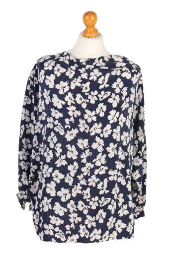 Women 80s Flower Shirt Short Sleeve XL